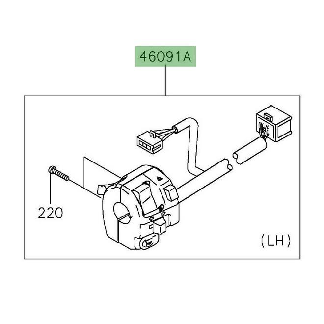 Commodo gauche Kawasaki Z650 (2017 et +) | Réf. 460910337