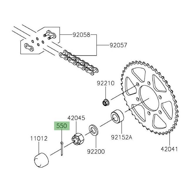 Goupille écrou de roue arrière Kawasaki Z650 (2017 et +) | Réf. 550AA4035