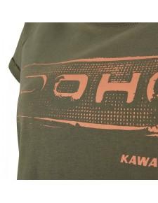 Détail T-Shirt femme Kawasaki DOHC kaki (XS à 2XL) | Moto Shop 35