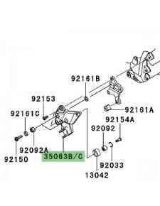 Platine repose-pieds avant gauche Kawasaki Z1000SX (2014-2016) | Réf. 35063072618R