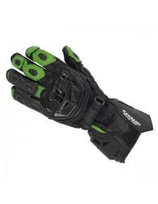 Gants racing en cuir noir/vert Kawasaki Racing Team