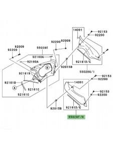Intérieur de carénage gauche Kawasaki Er-6f (2006-2008) | Réf. 550280122 / 550280157