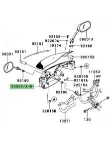 Tête de fourche peinte Kawasaki Er-6f (2006-2008) | Moto Shop 35