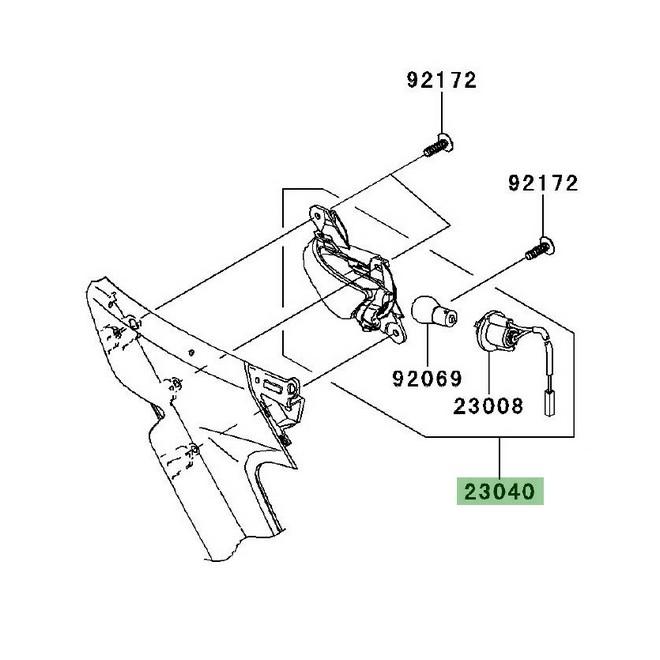 Clignotant avant gauche Kawasaki GTR 1400 (2008-2016) | Réf. 230400119