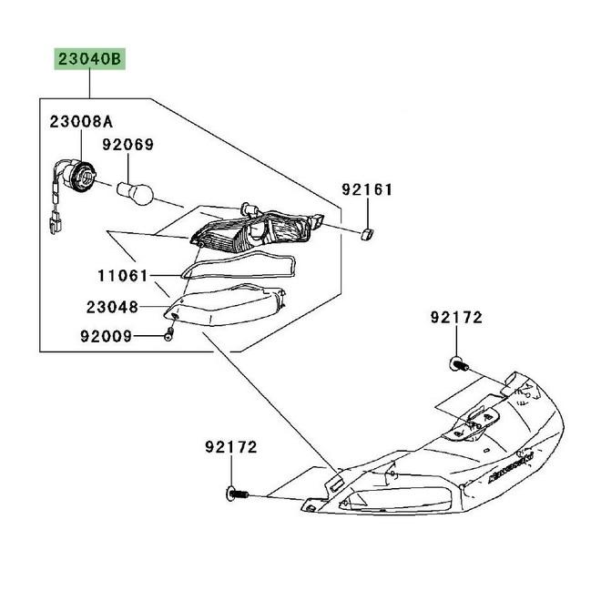 Clignotant arrière gauche Kawasaki GTR 1400 (2008-2016) | Réf. 230400079