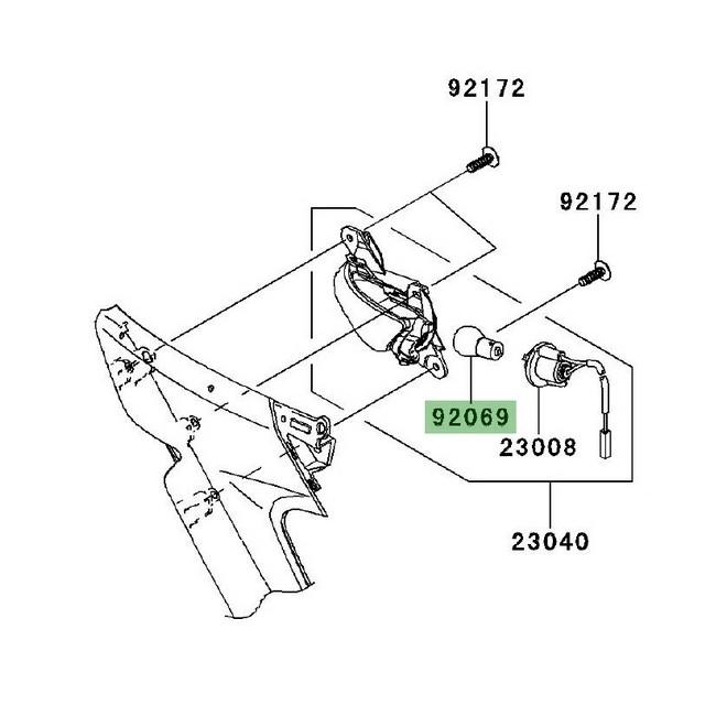 Ampoule (12V/21W) clignotants avant Kawasaki GTR 1400 (2008-2016)   Réf. 920691125