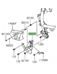 Support platine repose-pieds avant gauche Kawasaki Vulcan S (2015-2020) | Réf. 310540075