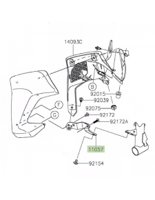 Patte de fixation écope de radiateur gauche Kawasaki Z900 (2017-2019) | Réf. 110570254