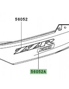 """Autocollant """"1400"""" coque arrière Kawasaki ZZR 1400 (2006-2010)   Réf. 560520863 - 560540497"""