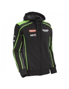 Sweat-shirt zippé homme à capuche Kawasaki Racing Team SBK REPLICA | Devant