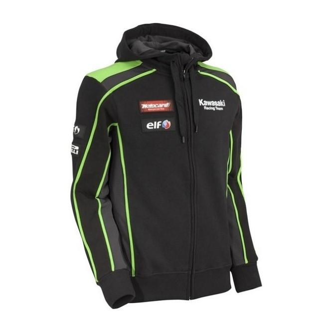Sweat-shirt zippé homme à capuche Kawasaki Racing Team SBK REPLICA | Devant