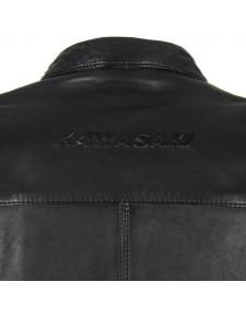 Blouson cuir Kawasaki RS Noir | Détail