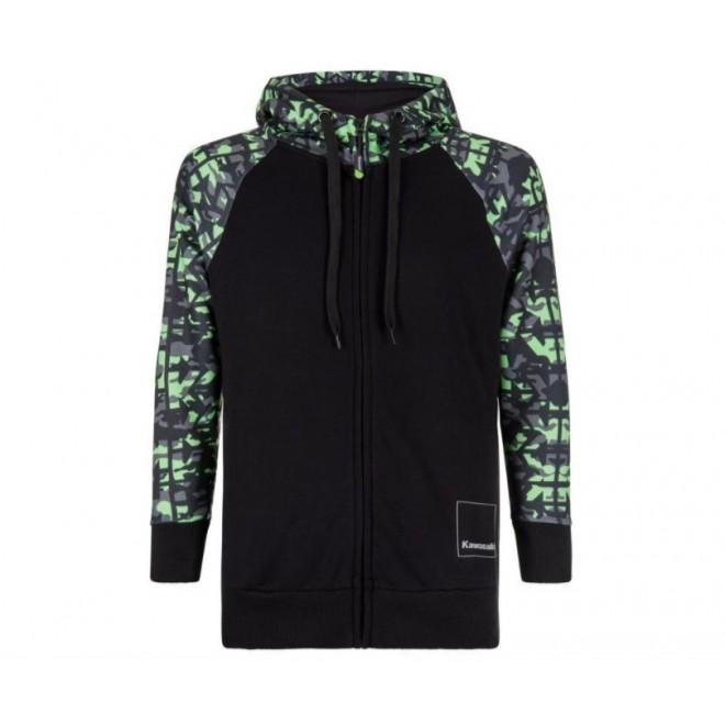 Sweat-shirt zippé homme à capuche Kawasaki K-Mouflage | Devant
