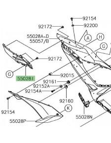 "Carénage latéral avant gauche ""brut"" Kawasaki Ninja 650 | Réf. 550280596"
