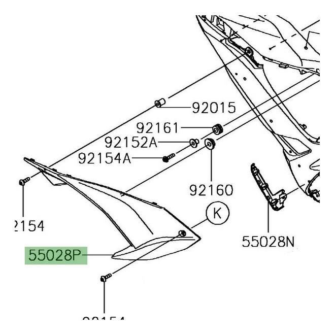 "Ouïe latérale arrière gauche ""brut"" Kawasaki Ninja 650 | Réf. 550280602"