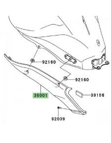 Cache latéral gauche sous réservoir Kawasaki Er-6n (2009-2011) | Réf. 360010143