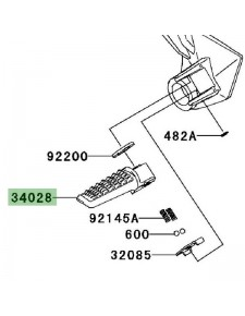 Repose-pieds arrière gauche Kawasaki Z750 (2007-2012)   Réf. 34028004