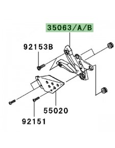 Platine repose-pieds avant gauche Kawasaki Z750 (2007-2012) | Moto Shop 35