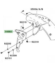 Flanc gauche garde-boue avant Kawasaki Z750R (2011-2012) | Réf. 140920221