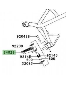 Repose-pieds arrière gauche Kawasaki Versys 650 (2007-2009) | Réf. 340280004